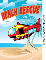Tropical beach rescue helicopter