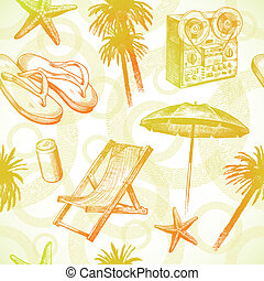 Tropical beach resort - vector seamless hand drawn ...