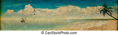 Tropical beach in grunge and retro style