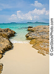 Tropical beach rock shore
