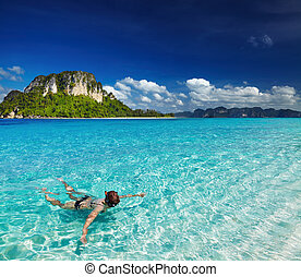 Tropical beach, snorkeling - Tropical beach, Andaman Sea,...