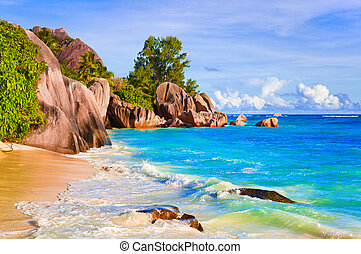 Tropical beach Source D'Argent at Seychelles - vacation...