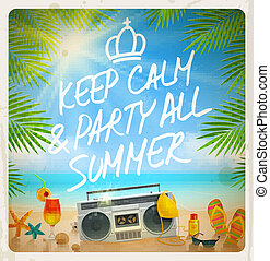 ... Tropical Beach Summer Party   Vector Vintage Design With.