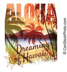 Tropical beach summer print with slogan. - Tropical beach...