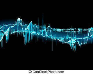 Tropical beach template. - Bright sound wave on a dark blue...