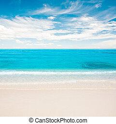 Tropical beach under summer sky