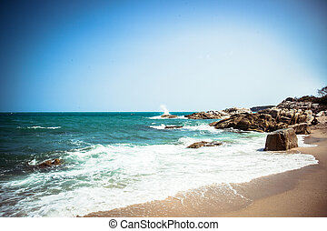 Tropical beach - vacation nature background on Koh Samui,...