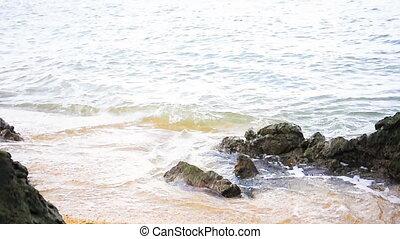 Tropical beach white sand shore in Thailand. - Tropical...