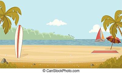 Tropical beach with a surfboard on the sand. Summer holidays.