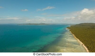 Tropical beach with and turquoise sea - Aerial footage...