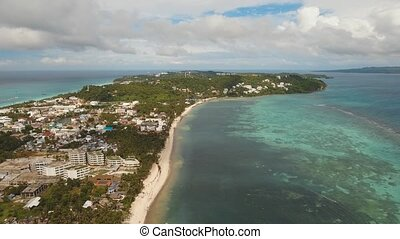 Tropical beach with and turquoise sea - Aerial footage beach...