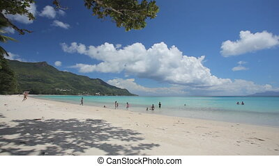 tropical beach with children in a distance