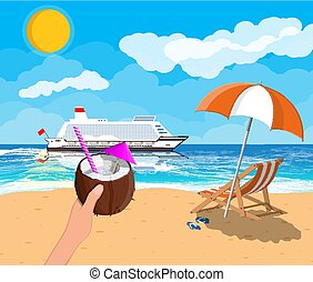 Tropical beach with cruise ship and cocktail
