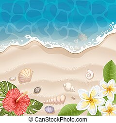 Tropical beach with flowers