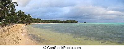 Tropical beach with lush vegetation, Nosy Boraha, Sainte, Marie island, Madagascar, Panoramique