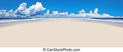 Tropical beach with open space for text