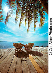 Tropical beach with palm tree and chairs - Amazing tropical...