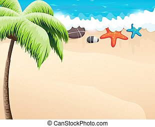Tropical beach with palm trees - Sandy coast and foaming...