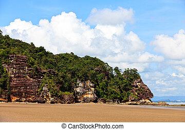 Tropical beach with rocky mountain