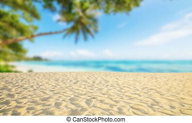 Tropical beach with sand, summer holiday background. Travel...