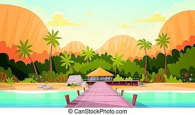 Tropical Beach With Water Bungalow House Landscape, Summer Travel Vacation Concept