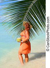 tropical beach woman