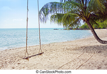 Tropical beach - Wooden swing on the tropical beach
