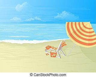 tropical beach,deck chair and umbrella - deck chair and...