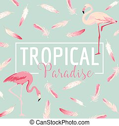 Tropical Bird. Flamingo Background. Summer Design. Vector....