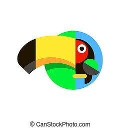 Tropical bird Toucan logo in flat style vector illustration