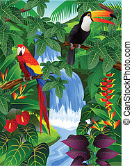 Vector illustration of tropical bird in the beautiful nature
