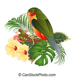 Tropical bird with tropical flowers on a branch vector