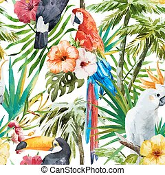 Tropical birds - Beautiful vector pattern with nice ...