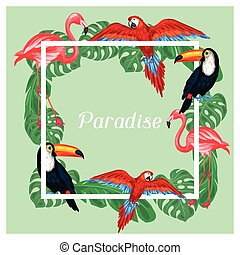 Tropical birds print design with palm leaves.