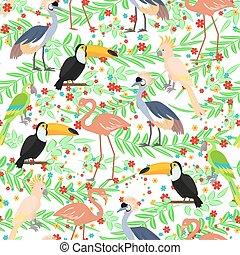 Tropical birds seamless pattern