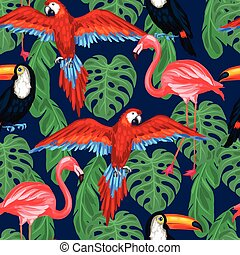 Tropical birds seamless pattern with palm leaves