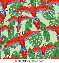 Tropical birds seamless pattern with parrots and palm leaves