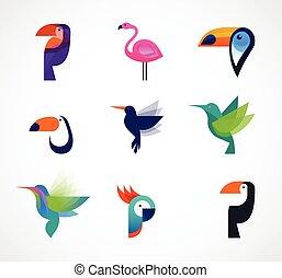 Tropical birds - set of vector icons - Tropical birds -...