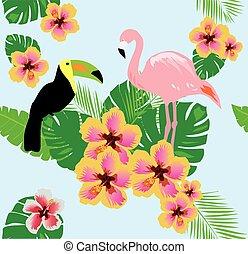 Tropical Birds - vector tropical background with birds