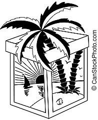 tropical, blanco, negro, paisaje