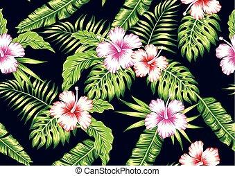 tropical blomstrar, svart, seamless, bakgrund, hibiskus, planterar