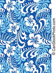 Tropical blue repeat pattern. Illustrator swatch of repeat pattern included.