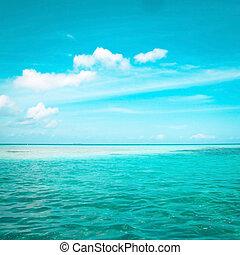 Tropical blue sea water in Maldives