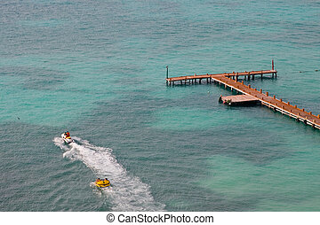 Tropical Boat Dock - Caribbean boat pier at a resort hotel...