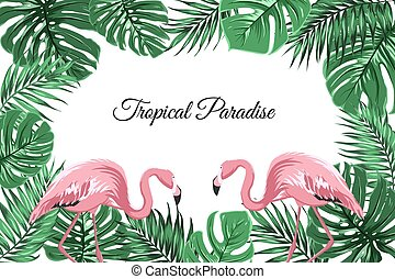 Tropical border frame green leaves pink flamingos - Exotic...
