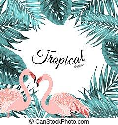 Tropical border frame jungle leaves flamingo birds