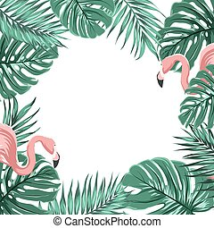 Tropical border frame leaves pink flamingo birds - Exotic...