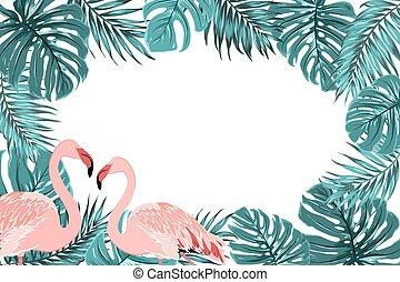 Tropical border frame turquoise leaves flamingo