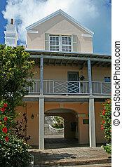 Tropical Building with Veranda