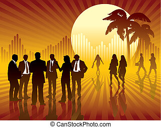 People are talking, sun and graph in the background, vector illustration.